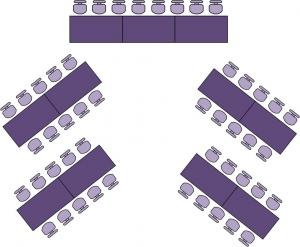 Angle Rectangles aka Chevron Style (space saver!)  #seating for #meetings. #eventprofs