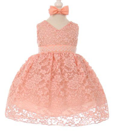 Look what I found on #zulily! Peach Lace A-Line Dress & Headband - Infant & Toddler #zulilyfinds