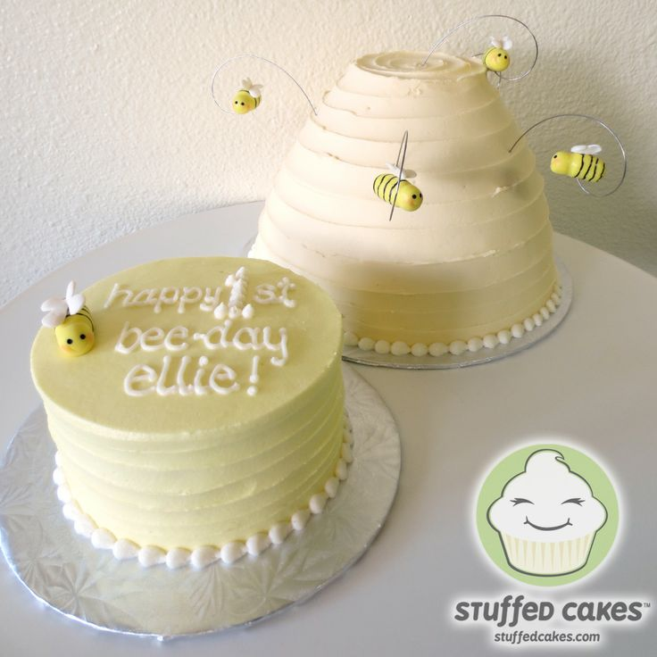 1st Bee Day Cakes www.StuffedCakes.com Custom Cakes & Cupcakes | Seattle, WA, USA