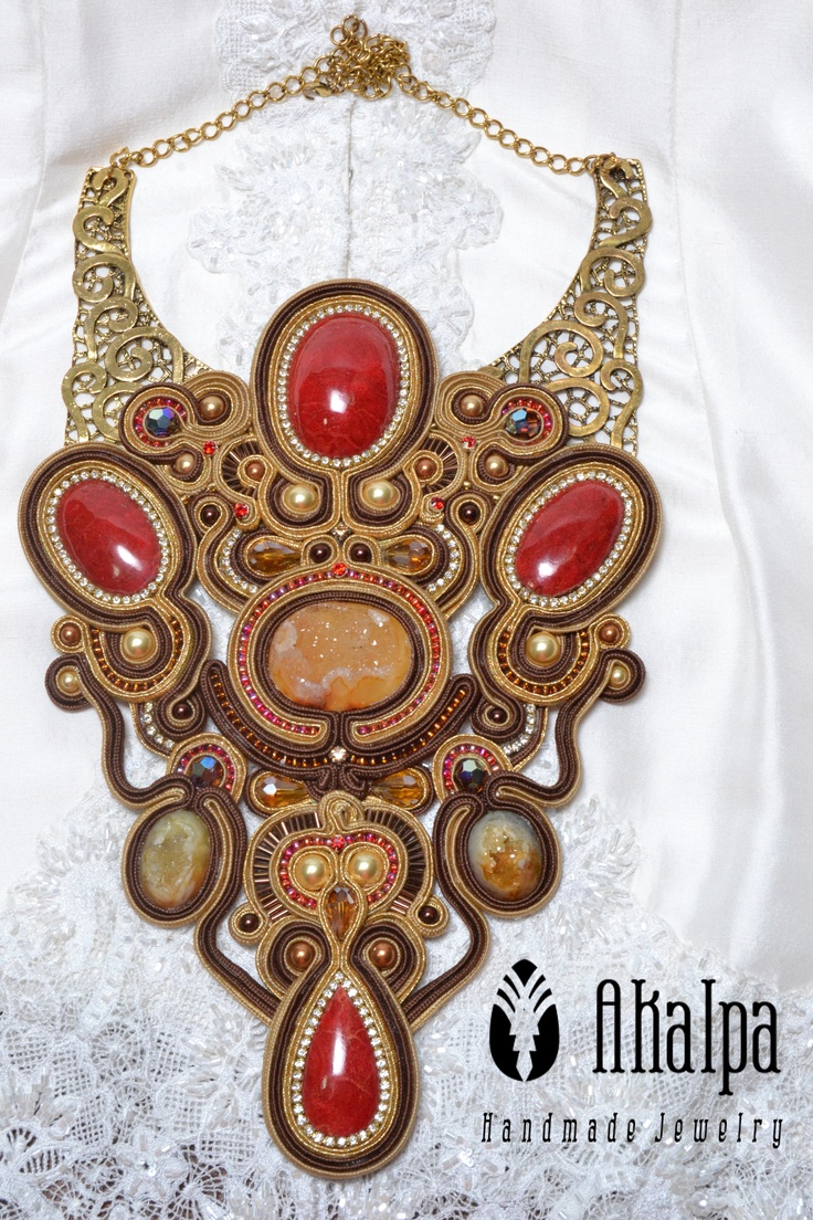 Golden Stone...Gold soutache with Druzy and red coral