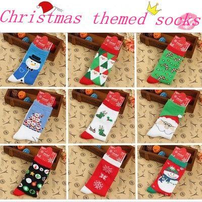 Vrouwen sokken, katoenen sokken voor kerst 2014 nieuwe winter dikke paar cartoon santa claus kerst sneeuwvlok sokken groothandel(China (Mainland))