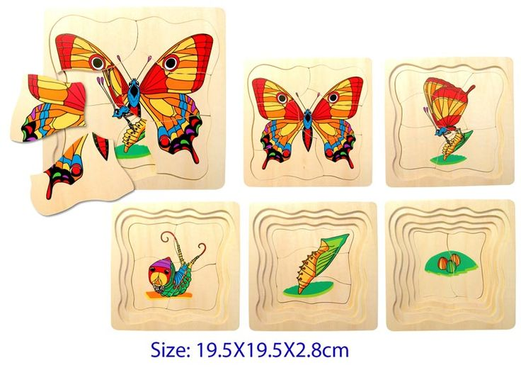 Butterfly Layer puzzle - $16 A clever challenging toy that illustrates the life cycle of a butterfly.  This is a great educational toy.  Each layer builds upon the last This is a deceptively difficult puzzle and a fantastic way to learn about the world around us.  The picture shows the five separate layers which fit one on top of the other Measures 19.5cm x 19.5cm 3yrs +