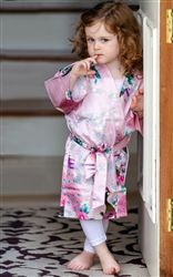 Personalised Floral Satin Robe for Flower Girls and Junior Bridesmaids. Cute as can be for the morning Wedding photos! Available from WowWee.ie