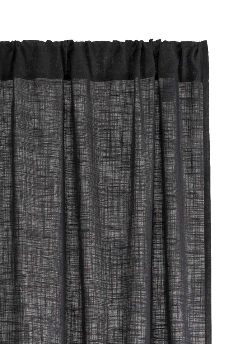 Slub-textured curtain length - Anthracite grey - Home All | H&M GB