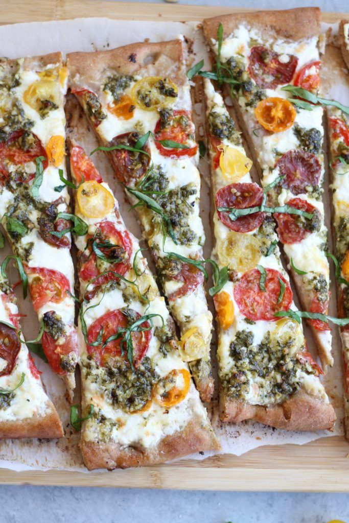 Baby Heirloom Tomato Burrata Pizza with Basil Pesto + Whole Wheat Crust