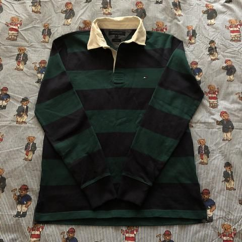 Vintage 90s Forest Green & Navy Tommy Hilfiger Rugby Shirt 🌲(M)