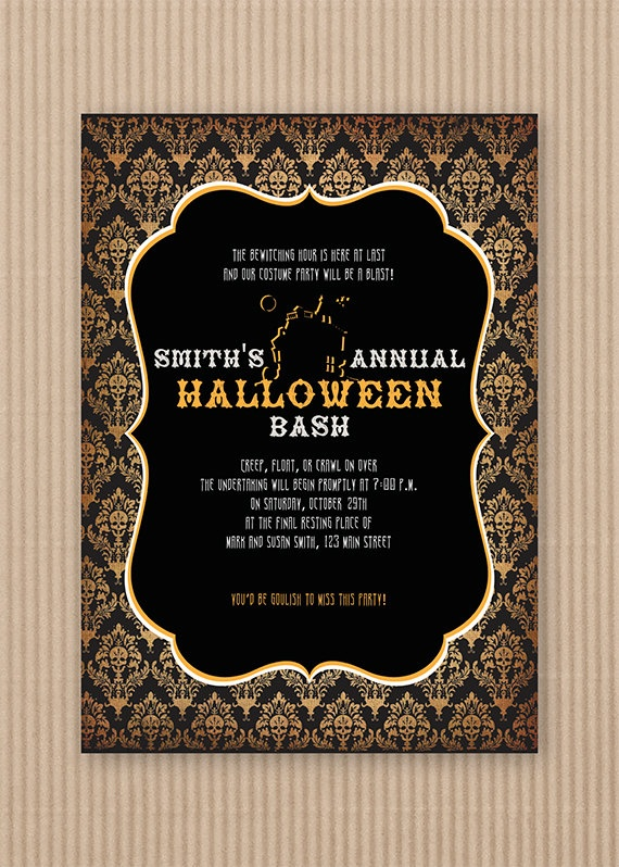 items similar to printable vintage halloween party invitations on etsy - Creative Halloween Party Invitations