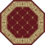 Sensation Red 5 ft. 3 in. x 5 ft. 3 in. Octagon Traditional Area Rug