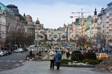 Venceslas Square open view, Prague Royalty Free Stock Photo