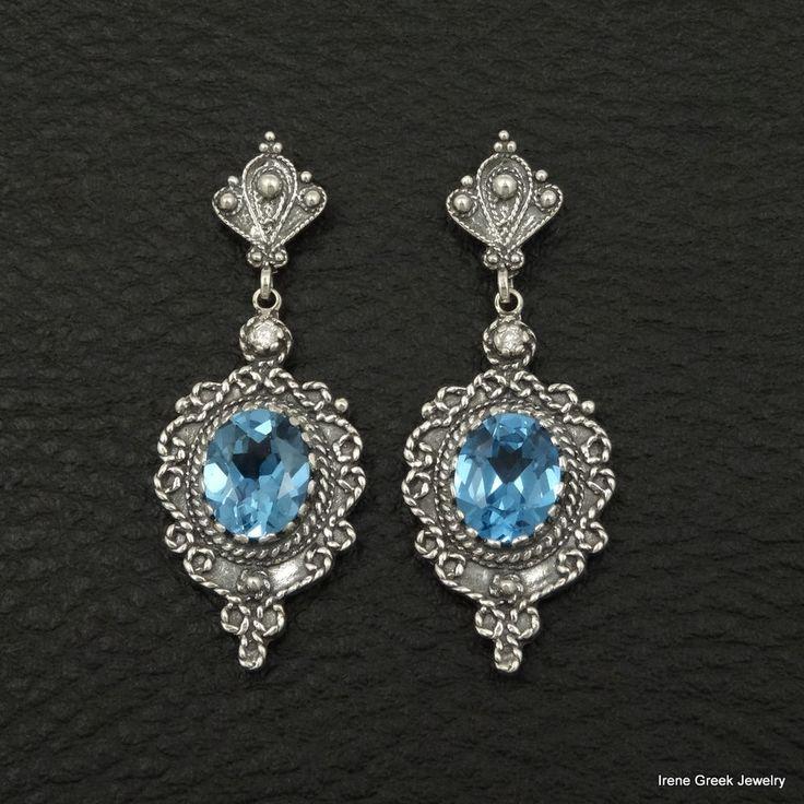 BLUE TOPAZ CZ BYZANTINE STYLE 925 STERLING SILVER GREEK HANDMADE ART EARRINGS #IreneGreekJewelry #DropDangle