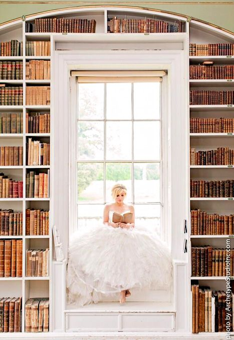 my favorite engagement photo shoot, Kelly Clarkson looks gorgeous! and look at all those books!