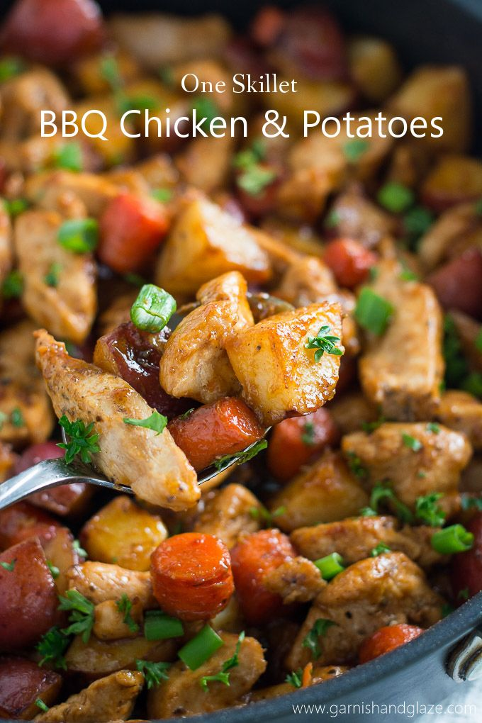 Try this One Skillet BBQ Chicken and Potatoes for a yummy healthy family meal that is easy to make and clean up. #ad @KCMBBQ