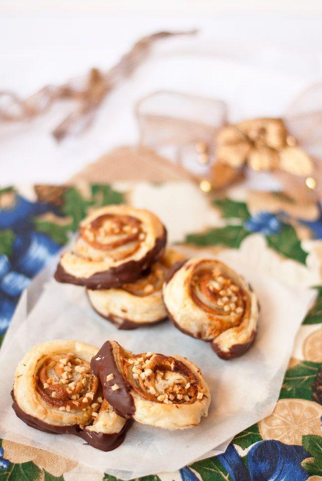 Espirales de turrón y chocolate