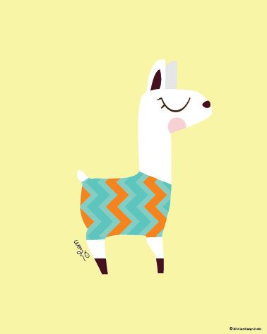 Baby Llama in Zigzag Print Poster : Modern Animal Illustration Nursery Art Wall…