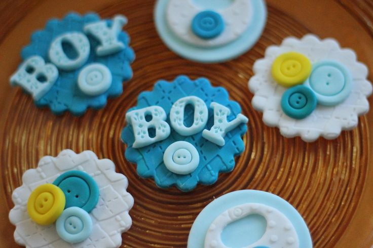 Boy baby shower fondant toppers.  Available at https://www.etsy.com/shop/LesPopSweets?ref=hdr_shop_menu
