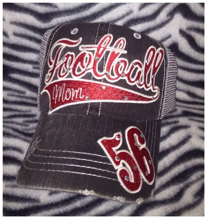Personalized Football Mom Hat by RebelChicks on Etsy https://www.etsy.com/listing/166505318/personalized-football-mom-hat