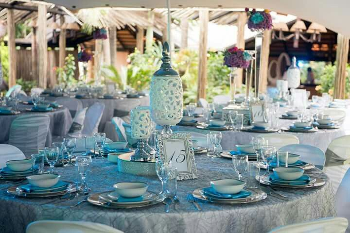 Wedding decor, white turquoise and bits of purple