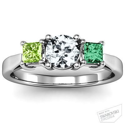 Mothers Ring - Three Stone Eternity with Princess Accents Ring | Jewlr