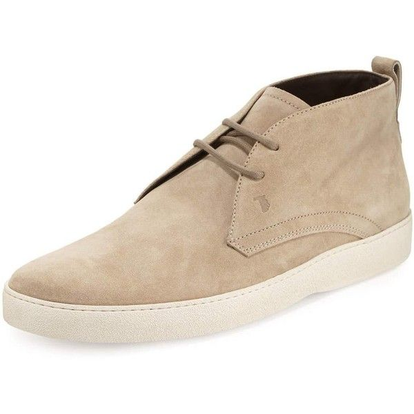 Tod's Suede Chukka Boot (830 BRL) ❤ liked on Polyvore featuring men's fashion, men's shoes, men's boots, tan, mens suede chukka boots, mens tan boots, mens tan suede chelsea boots, mens tan suede shoes and mens tan chukka boots