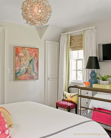 Art, mirrored dresser, & light fixture: Decoration, Color, Girls Bedrooms, Lighting Fixtures, Guest Rooms, Windows Treatments, Mirror Dressers, Traditional Bedroom, Girls Rooms