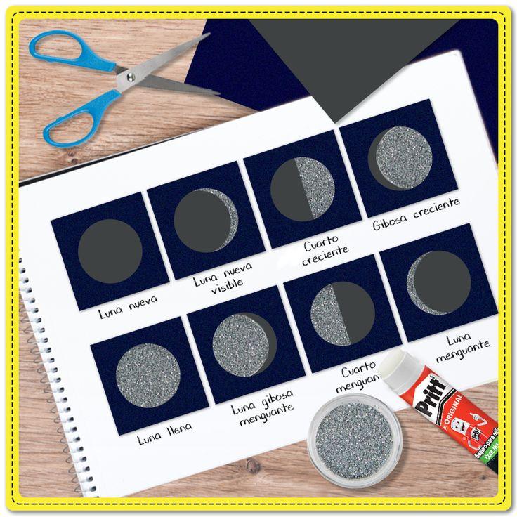 Explica las fases de la Luna a tus alumnos con esta divertida manualidad hecha #ConPritt. ¿Qué fase de la Luna les gusta más? ¿Qué necesitas? Lápiz adhesivo marca Pritt, diamantina plateada, hojas azul marino y gris, una hoja blanca y tijeras. #Pritt #Pegamento #Luna #Tareas #Escuela #Maestros #Ciencia