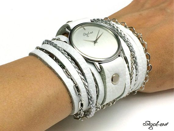Women Watch In White Leather Strap And Plain Plate-Women Watches-Wrap Watch-White Wrap Watch-Women Watches