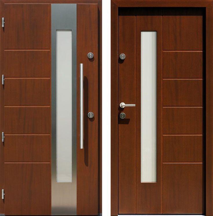 Drzwi wejściowe z aplikacjamii ze stali nierdzewnej inox wzór 471,1-471,11 orzech