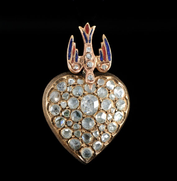 Antique mine-cut diamond enamel bird brooch
