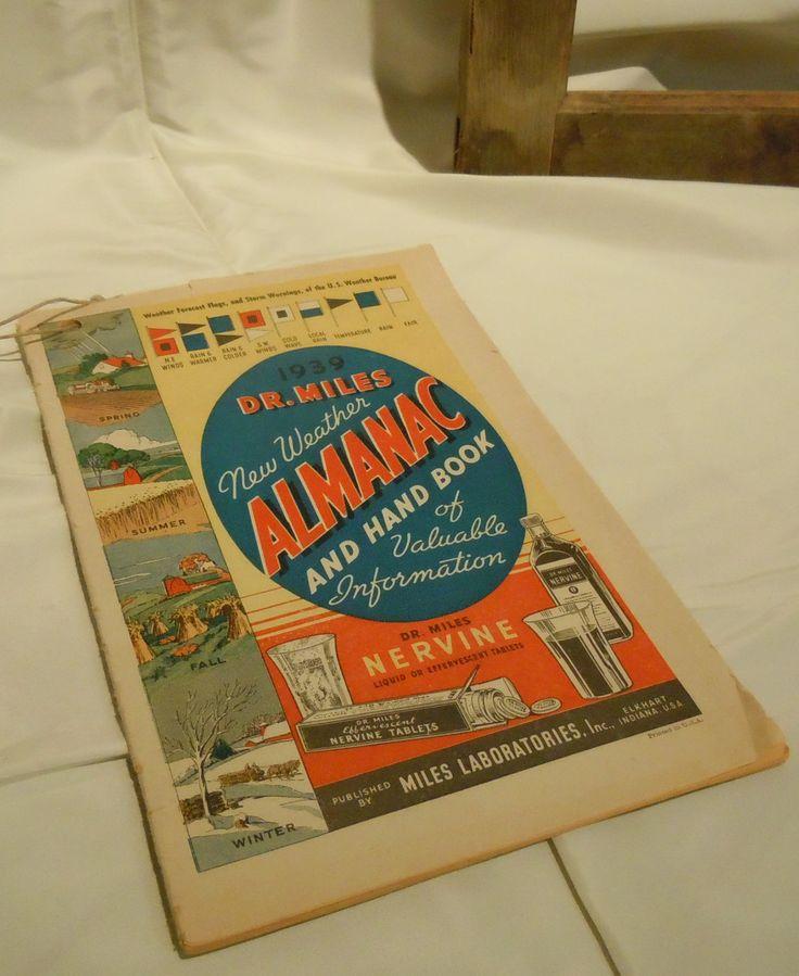 1939 Dr. Miles New Weather Almanac & Hand Book, Farmers Almanac, Antique Almanac, Paper Ephemera Advertising by ReTHINKinIt on Etsy