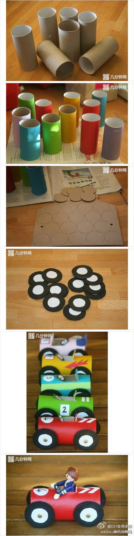 DIY Toilet Paper Roll Race Car DIY Projects