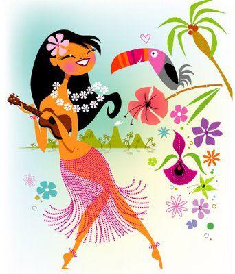 Kristen Ulve Hula Girl with Ukelele illustration, Hawaiian art