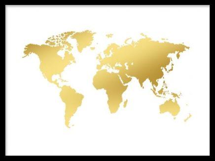 Poster med världskarta. Inred ditt hem med en snygg karta i guld. Prints med guld. Vi har fler affischer och planscher med guldtryck i vårt sortiment.