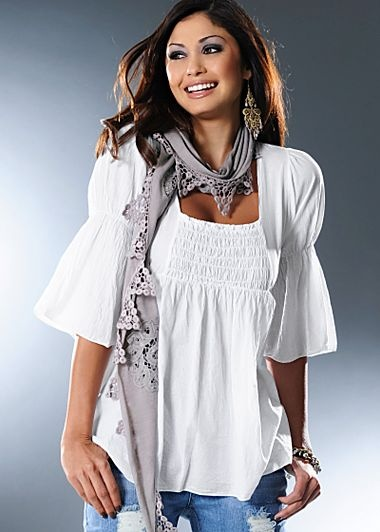 Square neckline tunic,adorable with scarf!!