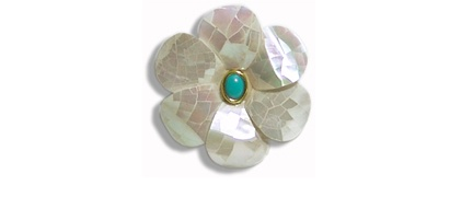Helga Wagner Mother of pearl flower pin with Turquoise Cabochon set in 14 K gold.
