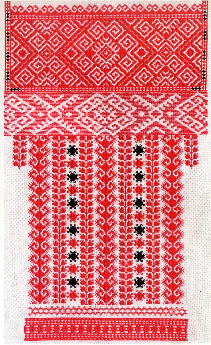 Red sleeve embroidery of the Sniatyn district, Pokuttia, Ukraine Pidvysoke