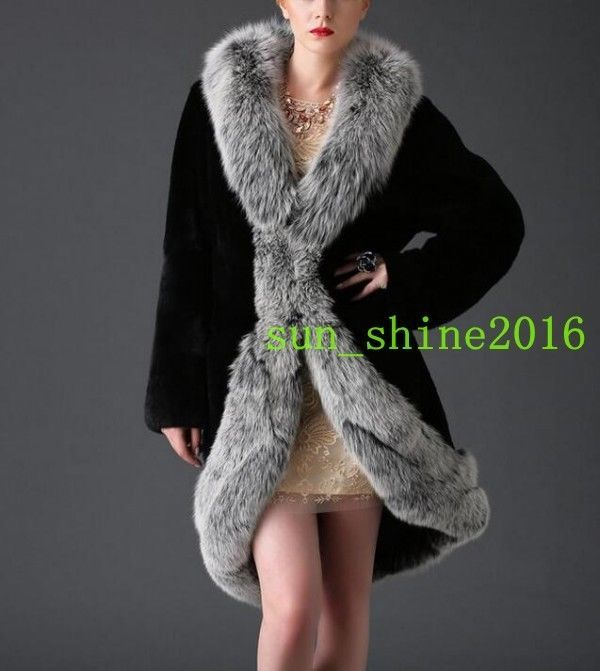 Women's Mid Long Faux Fur Capes Cloak Winter Warm Ladies Parka Coat Cloaks