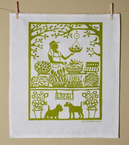 Hand printed 'Grower's Market' Tea Towel by Kei & Molly Textiles.  Cotton/Linen blend, printed with water-based inks.  #Handcrafted, #EcoFriendly, #AmericanMade.  #ThreeHeartsHome
