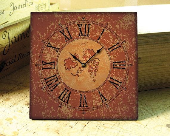 SIENA: Square Handcrafted #wall #clock In Burnt Orange