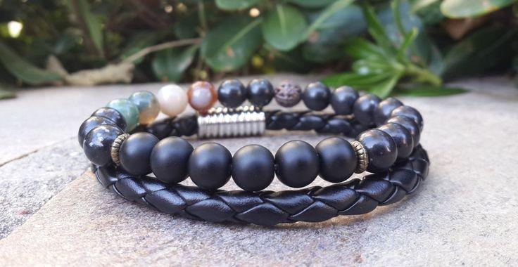 Mens Wrist Bracelet Set, Black Onyx, Indian Agate, Stretch Bracelet, Black Braided Leather, Boyfriend Gift, Brother Gift, Son Gift, For Him