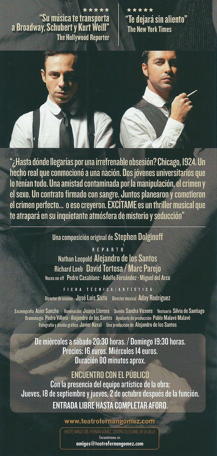 """Reverso del flyer promocional de """"Excítame"""" para el estreno el 11/09/2014 en el Teatro Fernán Gómez Centro Cultural de la Villa (Madrid).  (Diseño de Javier Naval)"""
