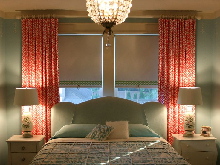 Window behind bed roller shades and curtains gift for Shades for bedroom windows
