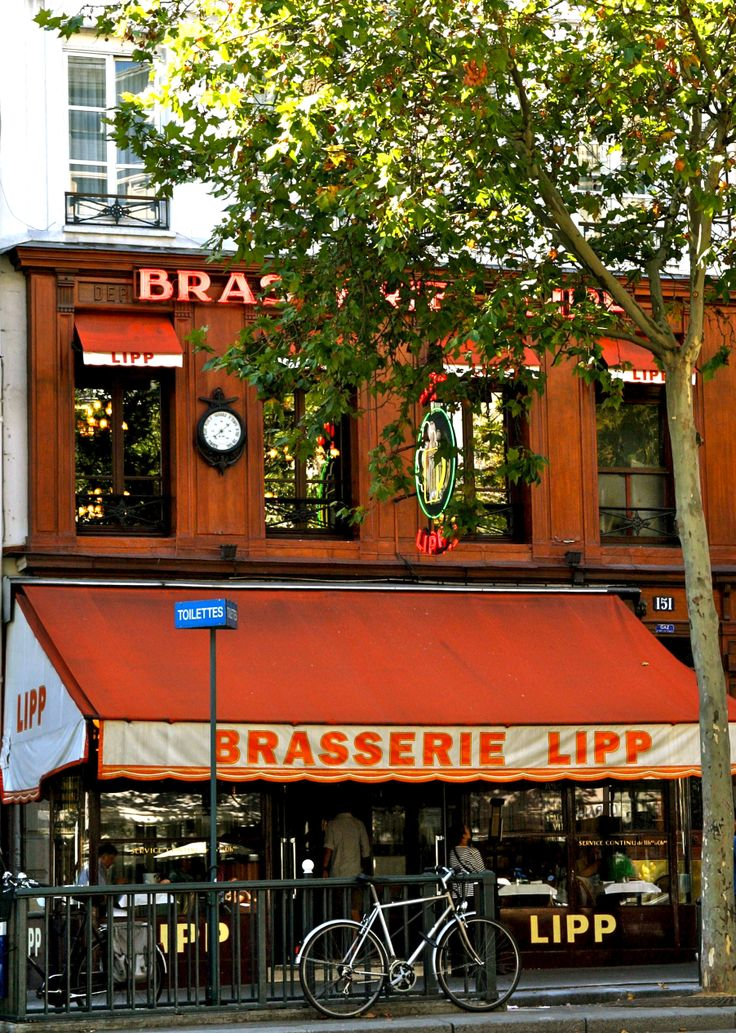 Brasserie Lipp...Opened in 1880, it gained immortality when Hemingway sang it's praises in A Moveable Feast.