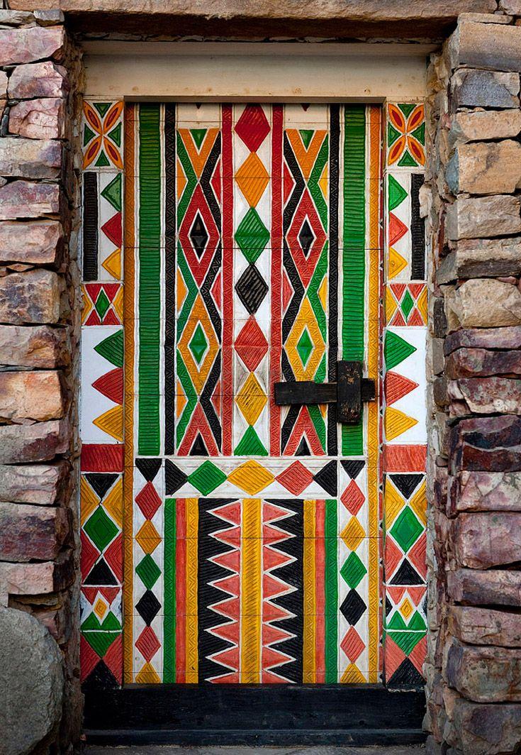 Bin Hamsan house door in Khamis Mushayt - Saudi Arabia   © Eric Lafforgue