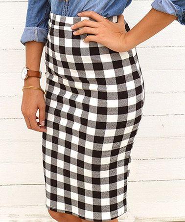 Black & White Gingham Pencil Skirt