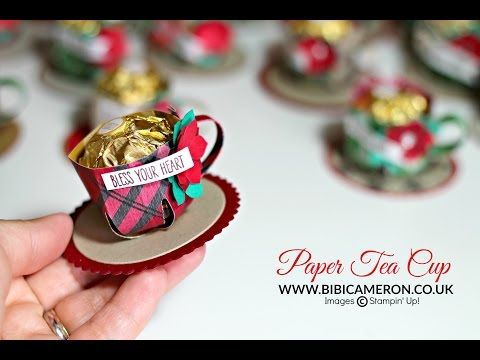 Easy paper tote bag - treat holder tutorial ♥ Stampin Up Cherry on top designer series paper | UK Independent Stampin' Up! Demonstrator Bibi Cameron