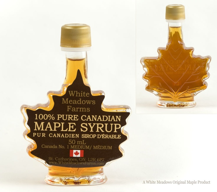 Customizable maple syrup leaf bottles for wedding favours. $4.99 CDN