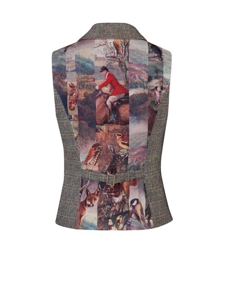 GALI - Tweed waistcoat. Very cool print effect on back.