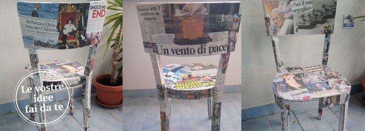 """Patrizia I. partecipa alla nostra iniziativa """"I tuoi lavori diventano protagonisti"""" rifacendo il look a vecchie sedie di legno."""