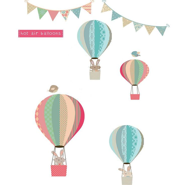 bunny and balloons fabric wall stickers by littleprints | notonthehighstreet.com