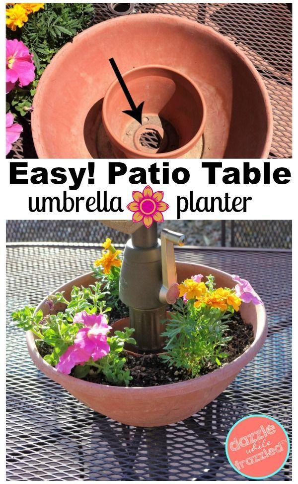 easy diy umbrella table flower planter